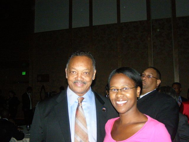 Stealing a photo op with Jesse Jackson